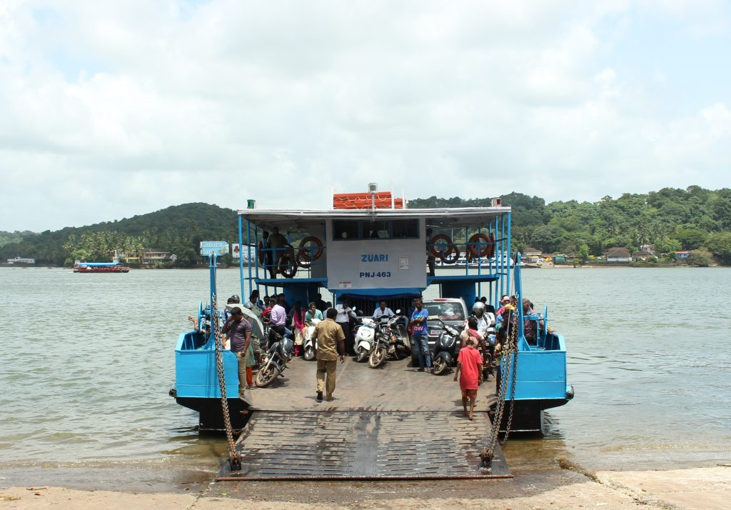 Boarding the Ferry Boat at the Panaji ferry point.
