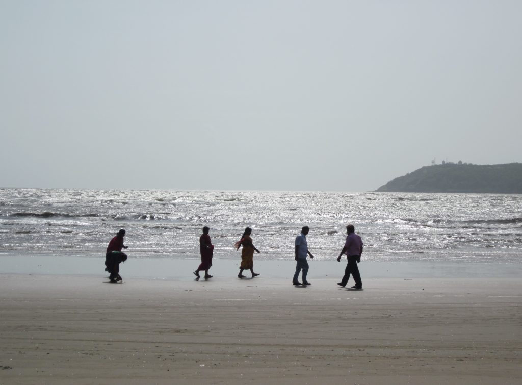 Miramar beach - a popular tourist spot - is where the Mandovi River joins the Arabian Sea.